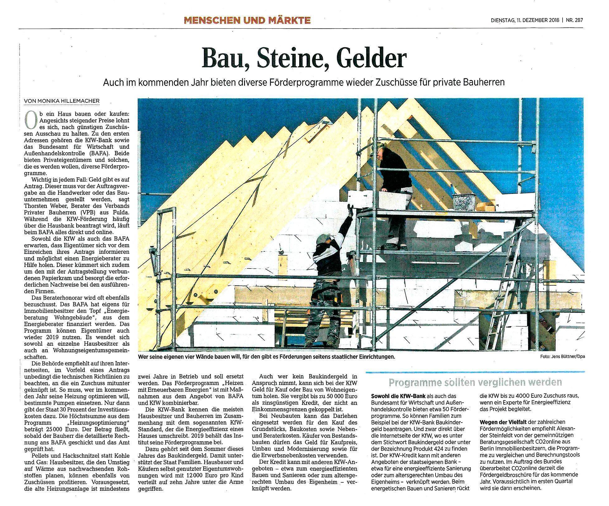 Wissenswert für private Bauherren (Zeitungsartikel ...